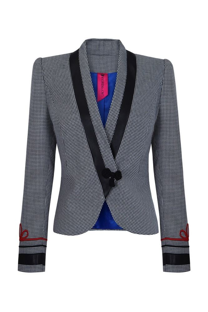 La Condesa — Bianca Houndstooth, blanck and white, leather and military details blazer