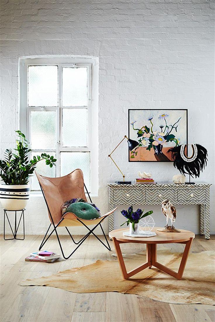 Butterfly Chair - Natural Leather & Black  #butterflychair #interiorsinspo