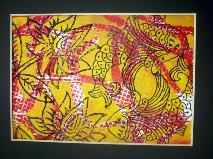 print making.. Koi & Flowers
