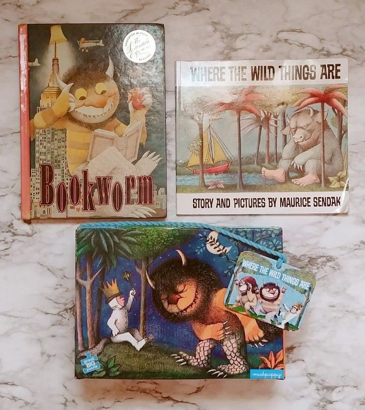 3 Pc Lot WHERE THE WILD THINGS ARE 24x36 Floor Puzzle & Books, MudPuppy Bookworm