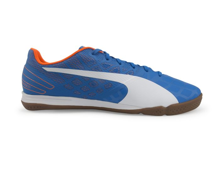 PUMA Men\u0027s evoSPEED Sala 3.4 Indoor Soccer Shoes Electric Blue/White/Orange  | Electric and Soccer shoes