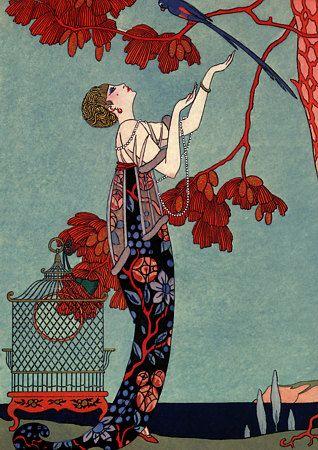 Vintage Art Deco Fashion Illustration Barbier Poster
