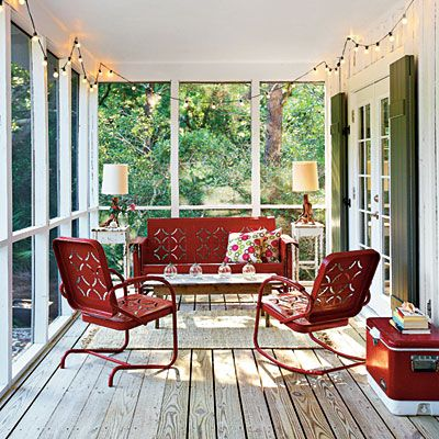 I love the vintage chairs and glider on the porch. I believe they're from the 50's, and I've enjoyed their like before. Very comfortable! There may be reproductions out, too.