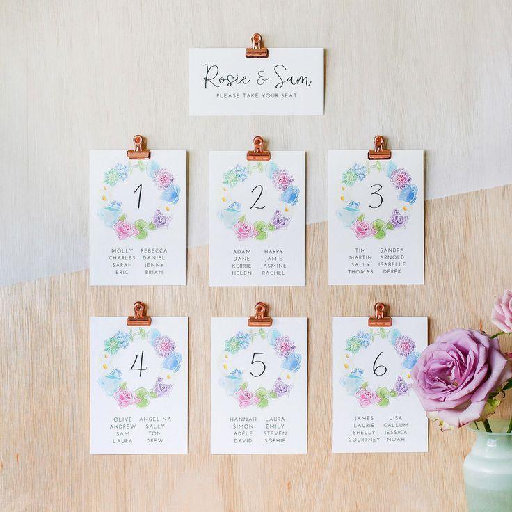 Modern Table Plan, Alternative Table Planner, Seating Planner, Seating Plan Chart, Table Plan Cards, Floral Wreath, Floral, Hand Painted Watercolour, Wonderland2.jpg