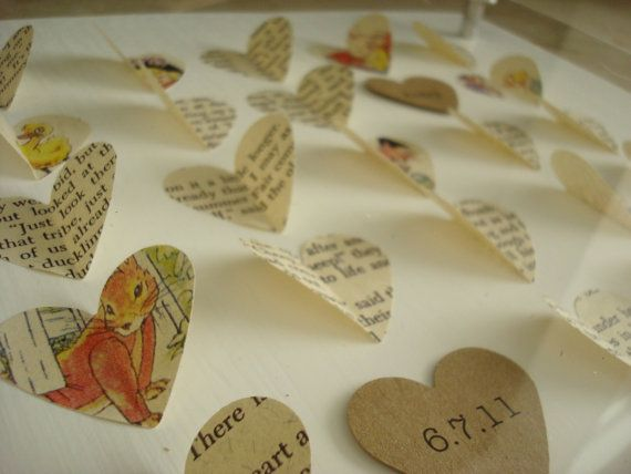 A unique Baby Gift. Personalized Children's art made from a VINTAGE CHILDREN'S BOOK.