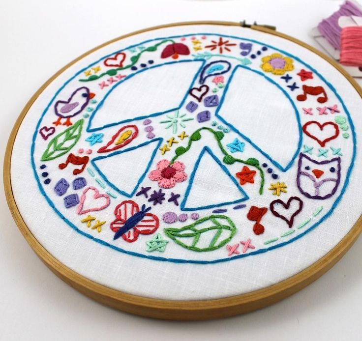 (10) Name: 'Embroidery : Peace Sign Hand Embroidery Pattern