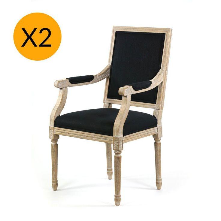X2 French Provincial Square Dining Arm Chair Black - Black Mango