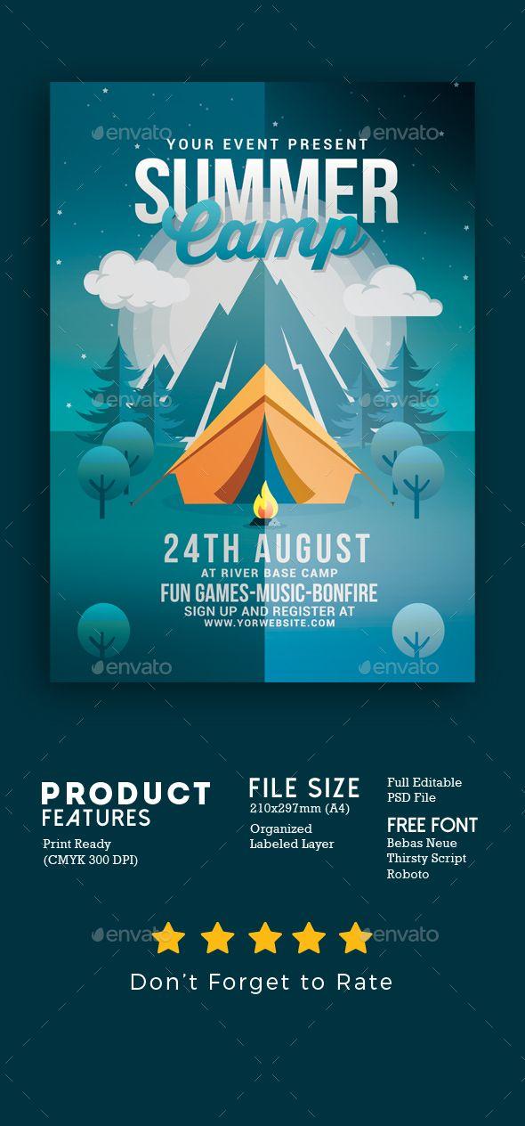 summer camp flyer template psd download 100 cmyk print ready 300