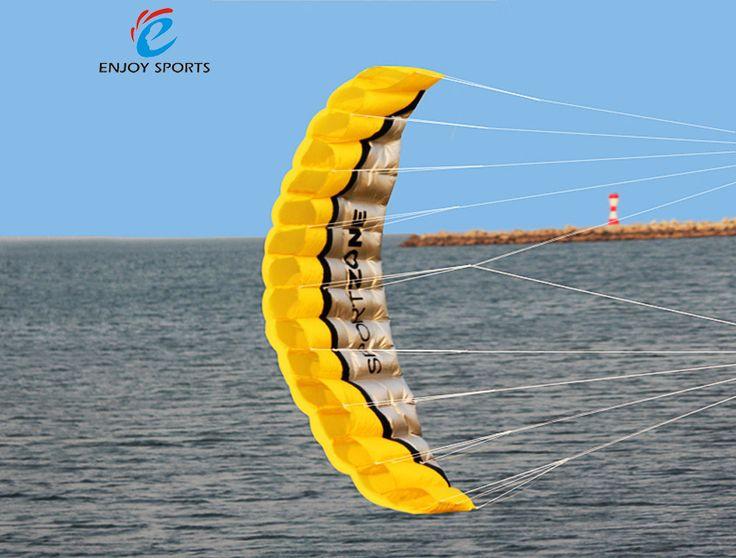 Soft Kite 2.5m Dual Line Parafoil Kite Braid Sailing Kitesurf Rainbow Sports Beach with Handle 30m Line