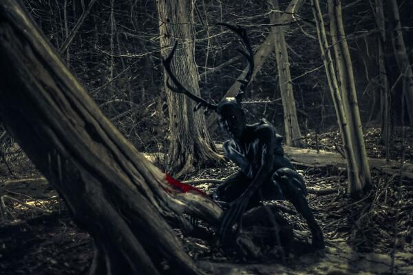 This is an image from the TV show Hannibal of a Wendigo. I chose this image because I find the form interesting and some of the features are of a typical Wendigo but it also has quite unique ones like pitch black skin. - A.M.