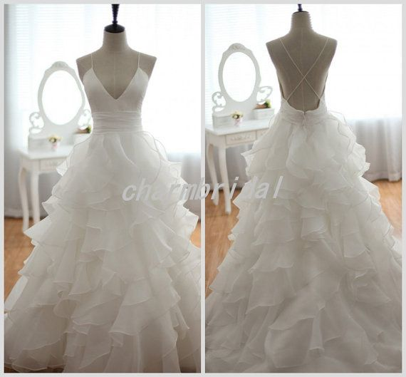 Stunning and simple but cheap and affordable.. I'd say yes to this dress! Glamorous  straps wedding dress/  Backless Organza by CharmBridal, $179.00