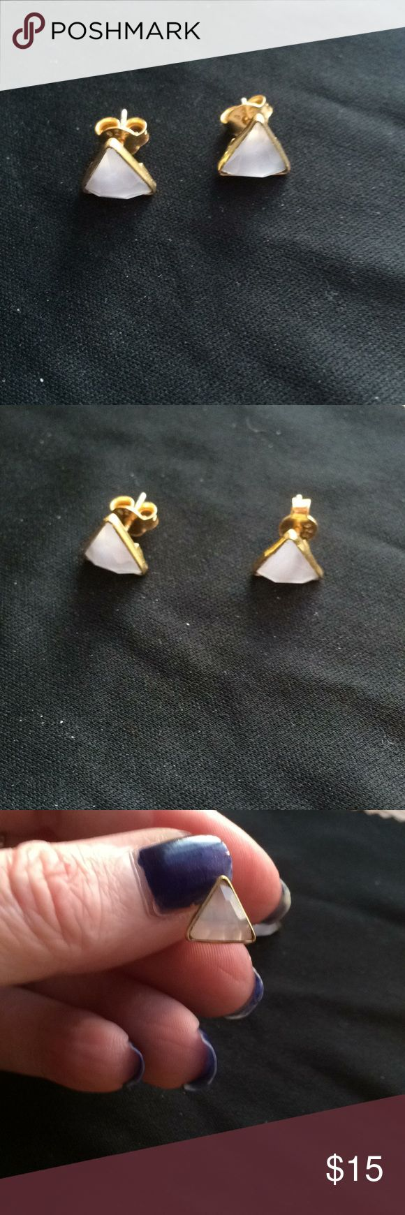 💕Pink Chalcedony Triangle Earrings For your consideration is a beautiful pair of pink chalcedony earrings. Chalcedony is believed to have healing properties. What you are buying is a great pair of opaque pink stones in a triangle shape set in a gold overlay.  Very beautiful pieces. Jewelry Earrings