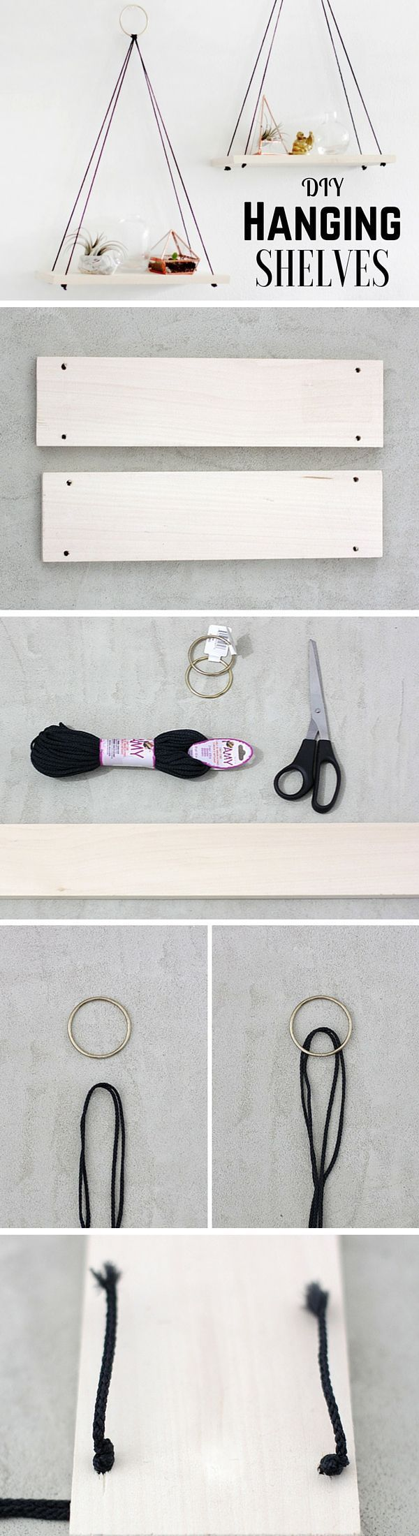Check out the tutorial: DIY Hanging Shelves /istandarddesign/