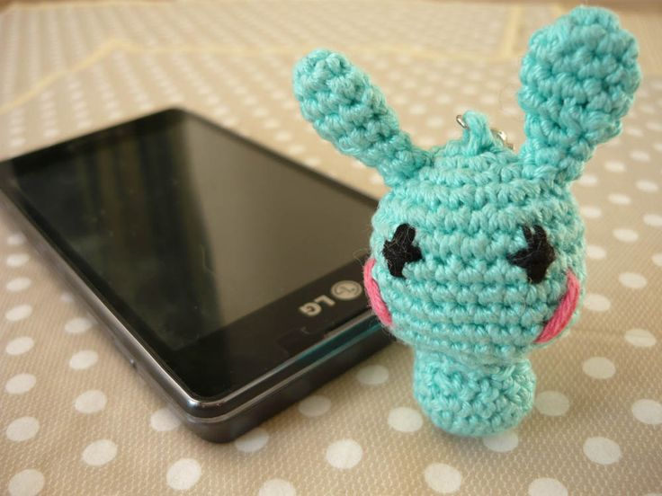 Amigurumi phone charm - little bunny, gift for teens, cute keychain, kawaii charm, cute phone dangle,  Dust Plug, Earphone Plug by MariAnnieArt on Etsy #amigurumi #kawaii #mariannieart #etsy #phonecharm #dustplug #crochet #geekgift #nerdgift