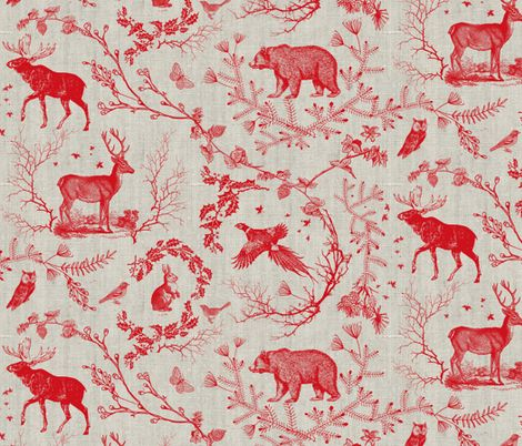 MAKE YOUR OWN WALLPAPER Woodland Winter Toile (in Cranberry) fabric by nouveau_bohemian on Spoonflower - custom fabric
