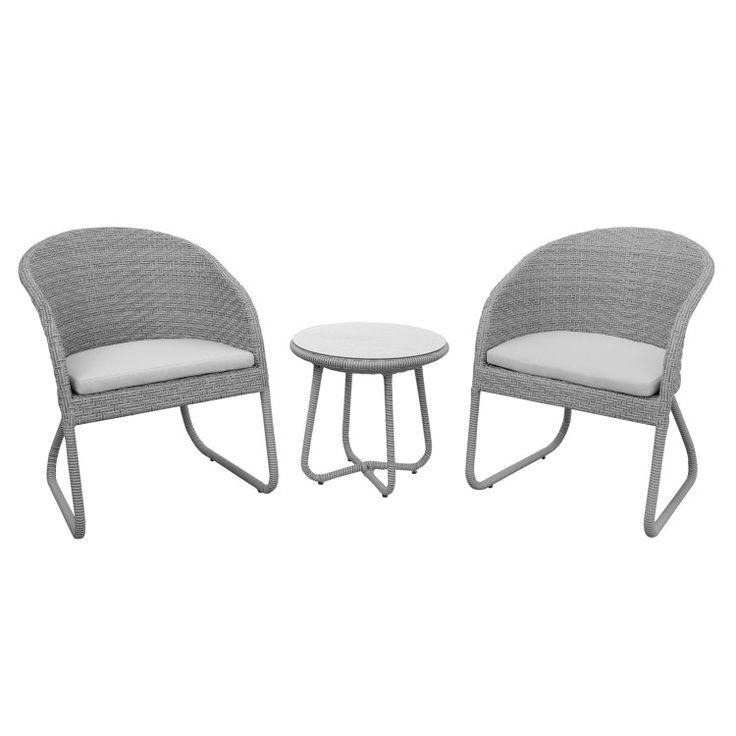 anndora SUSILA Polyrattan Balkonset grau 2 Stühle + Kissen + 1 Tisch Sitzgruppe