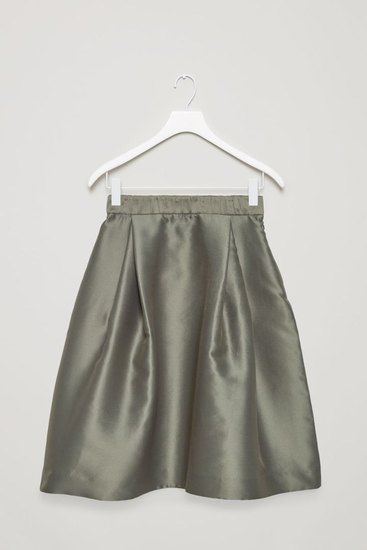 COS image 4 of Double-pleat skirt in Khaki Green