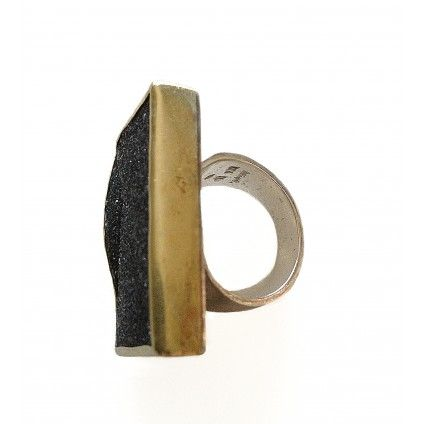 DOLLY BOUCOUYANNIS silver and gold plated black stone ring