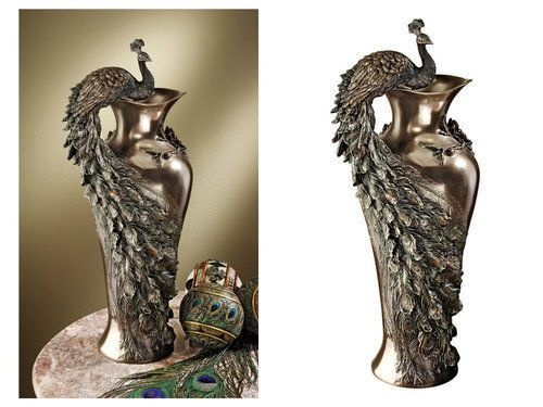 Peacock-Decor-Vase-Sculptural-Curved-Unique-Bronze-Painted-Art-Home-Decorative