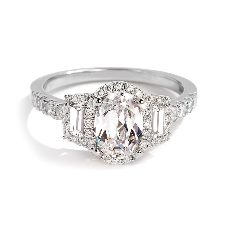 Sylvie Collection Oval and Baguette Diamond Engagement Ring | Greenwich Jewelers
