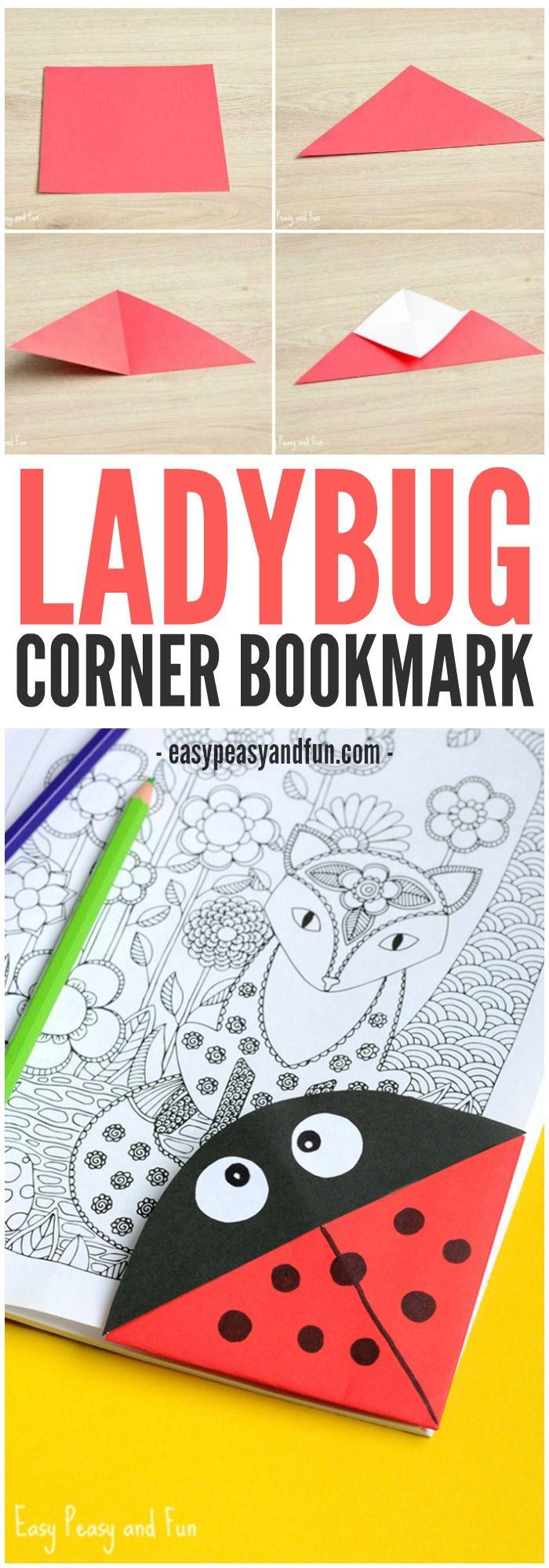 Ladybug Corner Bookmark – Origami for Kids
