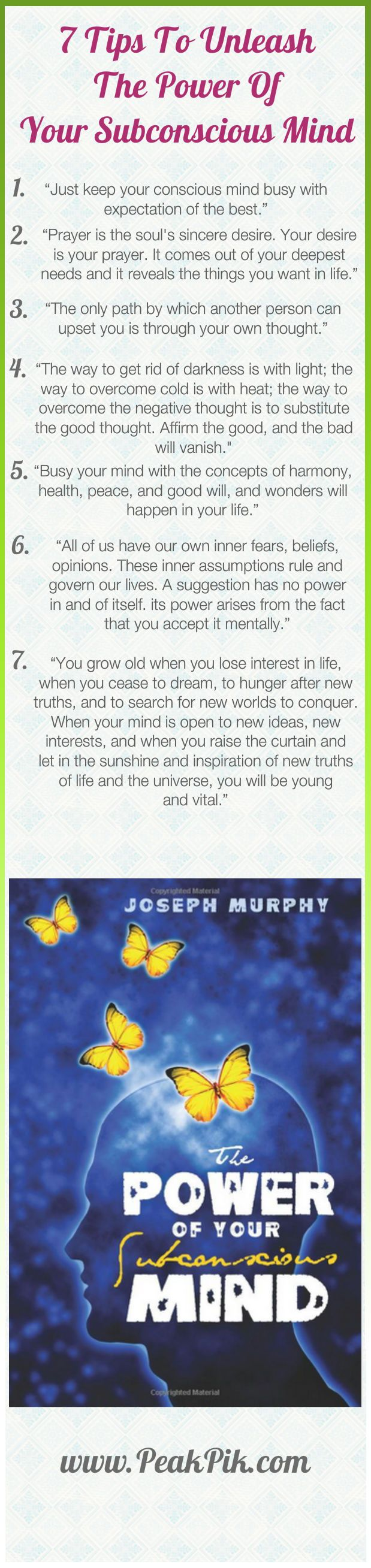 In The Power of Your Subconscious Mind, Dr. Joseph Murphy gives you the tools you will need to unlock the awesome powers of your subconscious mind. You can improve your relationships, your finances, your physical well-being. Once you learn how