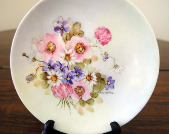 1900 Arzburzg Plate - Hand Painted, Antique, Flowers - Bavaria - Gorgeous. $23,50, via Etsy.