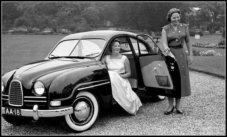 Saab 93B of former Dutch Queen Beatrix and her sister Prinses Irene,1957