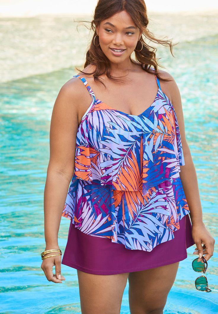 Doubletier tankini top in mesh plus size swimwear