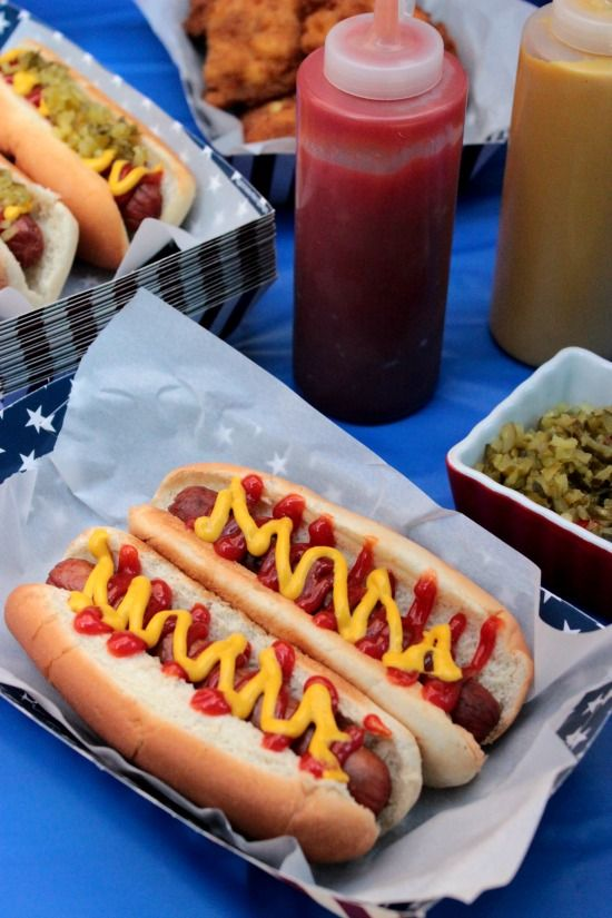 Keep it simple and serve hot dogs with all the typical toppings.