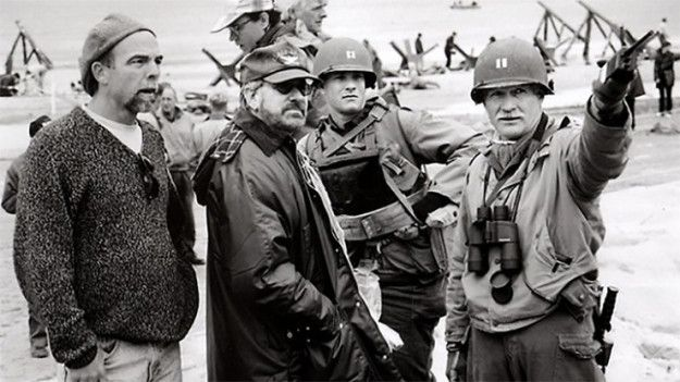 Dale Dye overseeing the opening battle scene in Saving Private Ryan, with Steven Spielberg   World War II Film To Be Directed By Retired Marine Captain Behind Some Of Hollywood's Greatest War Films
