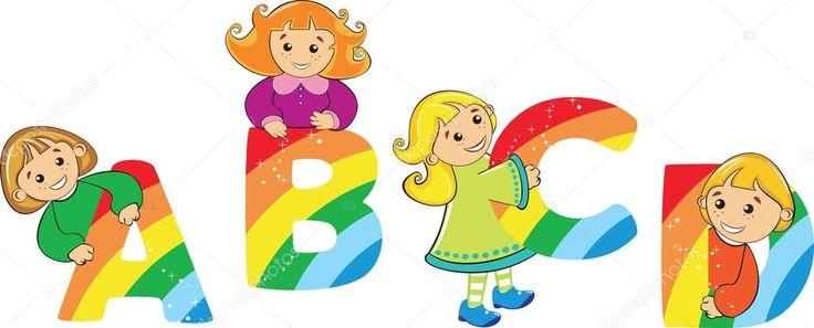 Descargar - Niños felices de dibujos animados con la letra del arco iris — Ilustración de Stock #4433077
