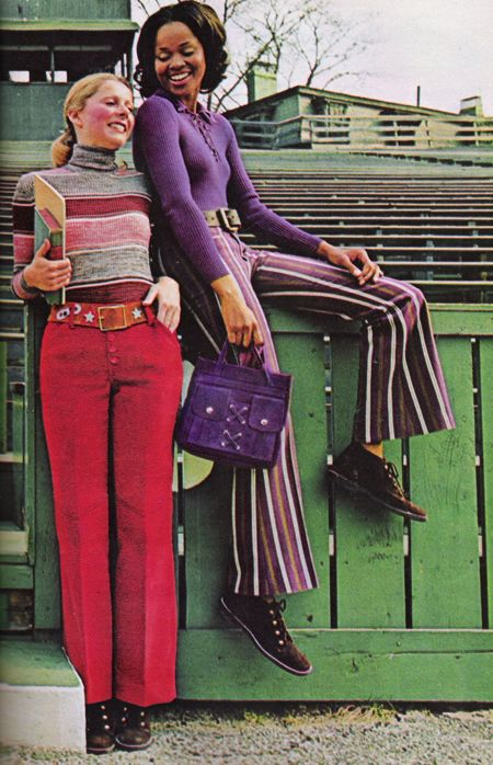 August 1971. 'Sears Junior Bazaar jeans. School has been without them long enough.'