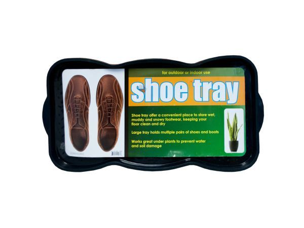 "Textured Shoe & Boot Storage Tray, 4 - Great for indoor or outdoor use, this Textured Shoe & Boot Storage Tray offers a convenient place to scrape and store wet, muddy and snowy footwear, keeping your floor clean and dry. Large tray holds multiple pairs of shoes and boots. Also works great placed under plants to prevent water and soil damage. Side handles allow for easy pick-up and emptying. Measures approximately 29.5"" x 1.25"" x 14.5"". Comes loose with a UPC label.-Colors: black. Material…"