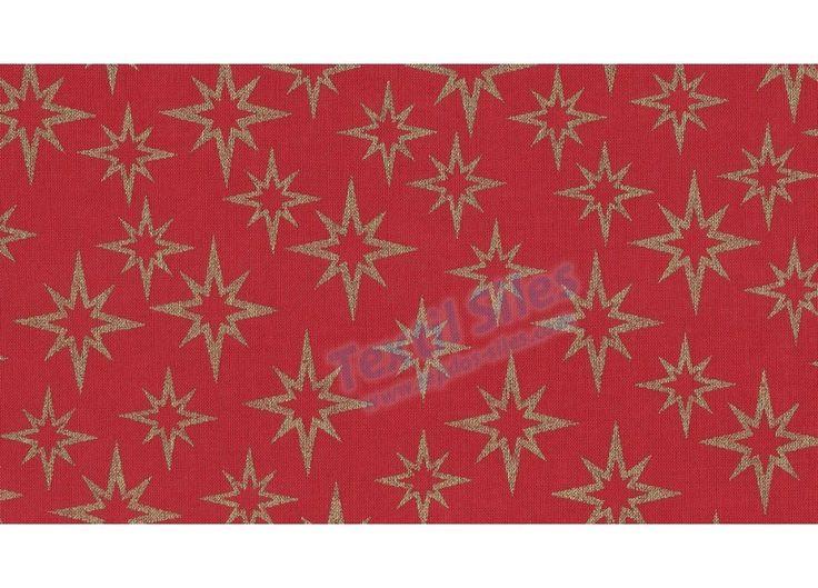 Patchwork Navidad Estrellas Doradas fondo rojo