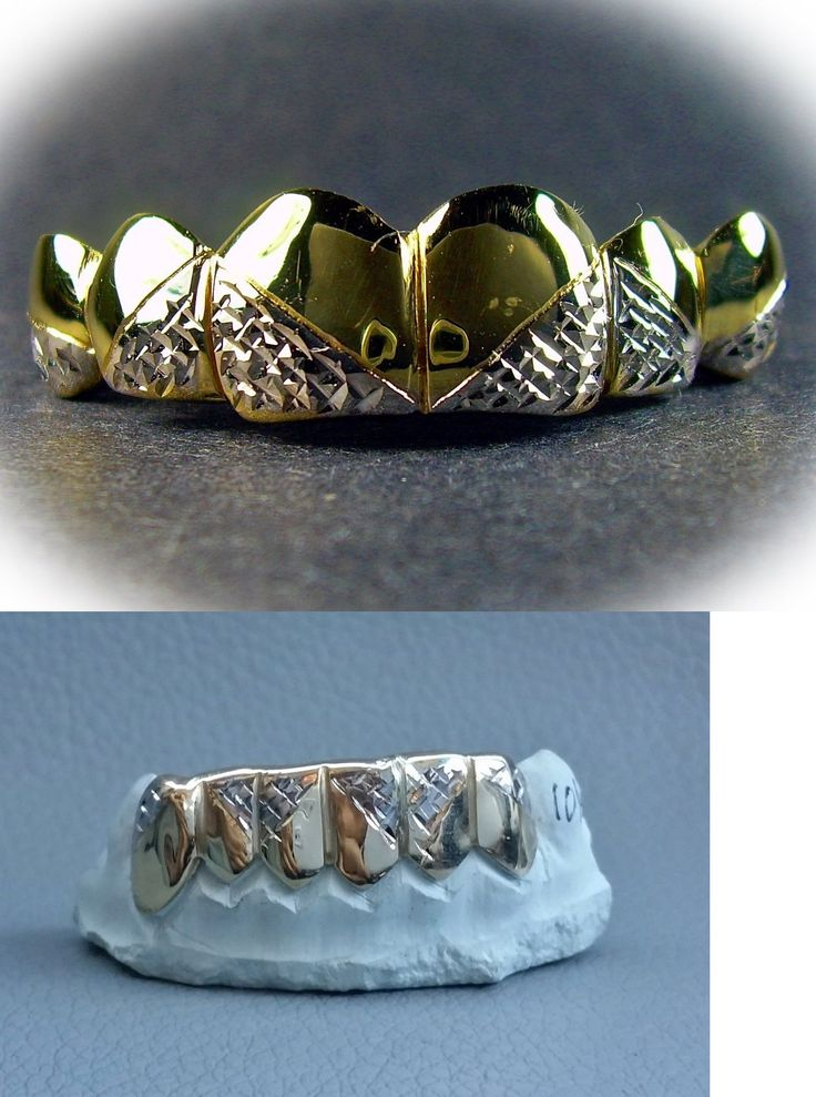 Grillz Dental Grills 152808: S. Silver 10K Or 14K Gold Custom Made Two Tone Diamond Cuts Grillz BUY IT NOW ONLY: $140.0