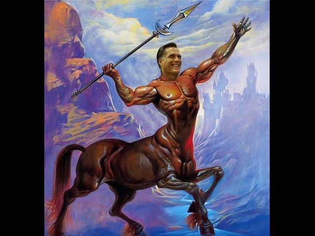 The Washington Free Beacon, funded by Mitt Romney 2012 campaign mega-donor Paul Singer, tweeted an image of the failed 2012 candidate as a muscular centaur throwing a spear.