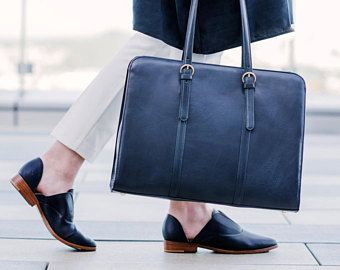Personalized laptop bag - 15 inch macbook bag - Monogram laptop briefcase - Womens laptop bag - Navy leather bag - Business briefcase women