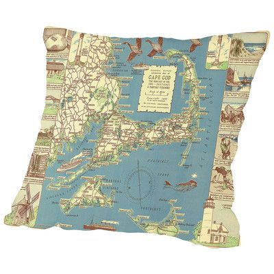 Americanflat Colonial Craftsman Decorative Map of Cape Cod Throw Pillow Size: