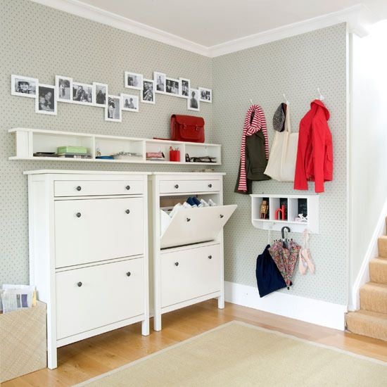 entryway with ikea shoe cabinets
