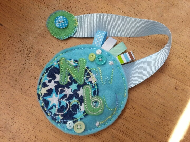 Pushchair rosette with concealed magnet fastening,  perfect accessory for a new baby boy!