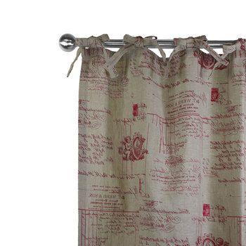 Joli rideau en lin imprimé ANGELOT aux écritures et d'anges rouge sur un fond uni naturel. Finition oeillets, nouettes, ruflette ou plis flamands.