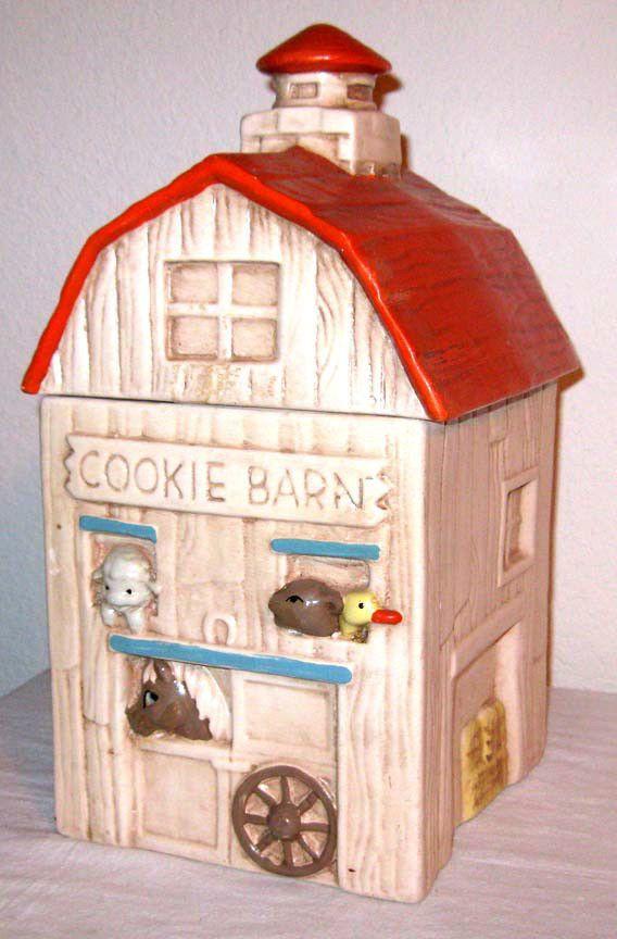 twin winton | Vintage Twin Winton Cookie Barn Jar Hand Painted Red Orange Roof San ...