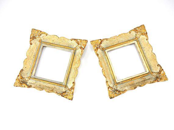 Set of Wooden frames antique wooden frame gold color frame