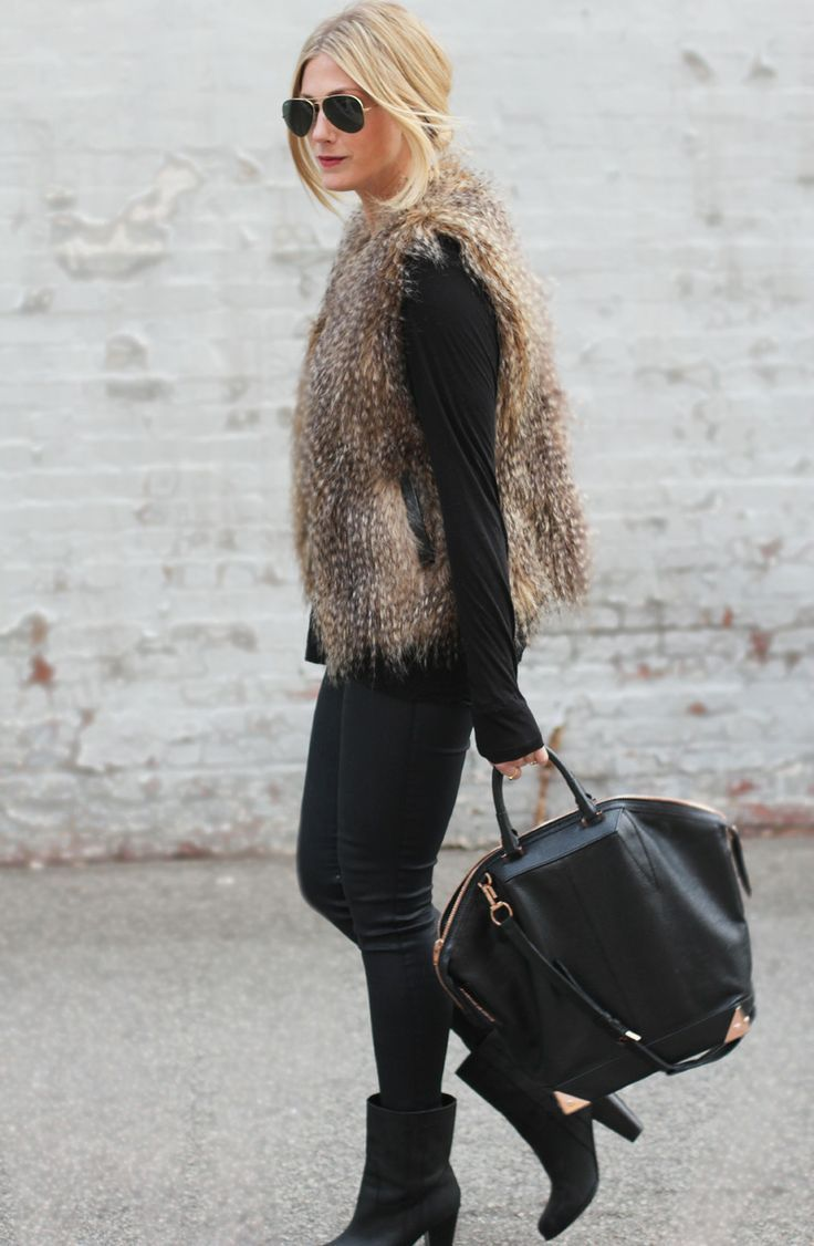 This combo of a brown fur vest and black slim jeans is a safe bet for an effortlessly cool look. Elevate your getup with black leather booties.  Shop this look for $113:  http://lookastic.com/women/looks/sunglasses-vest-long-sleeve-t-shirt-skinny-jeans-tote-bag-ankle-boots/6236  — Black Sunglasses  — Brown Fur Vest  — Black Long Sleeve T-shirt  — Black Skinny Jeans  — Black Leather Tote Bag  — Black Leather Ankle Boots