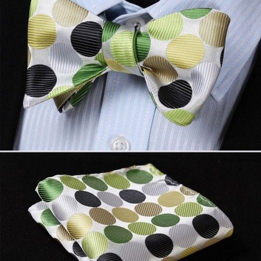 Luxusný hodvábny set - motýlik a vreckovka vo viacerých farbách s bodkami