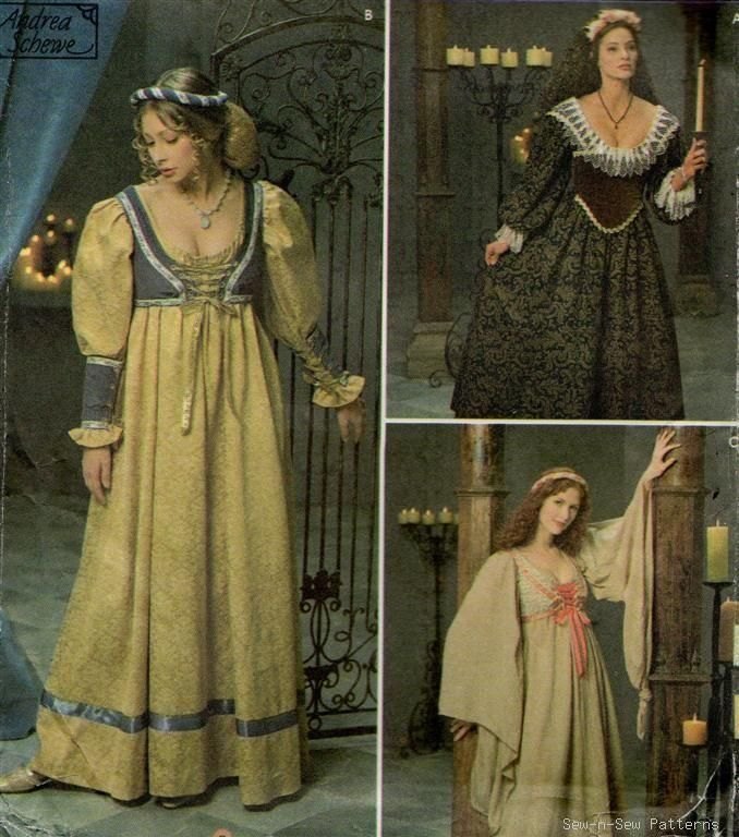 medieval clothing patterns | Simplicity 8192 Renaissance Dress Costume PATTERN Medieval