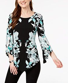 Alfani Printed Pointed Hem Top Created For Macy S Style