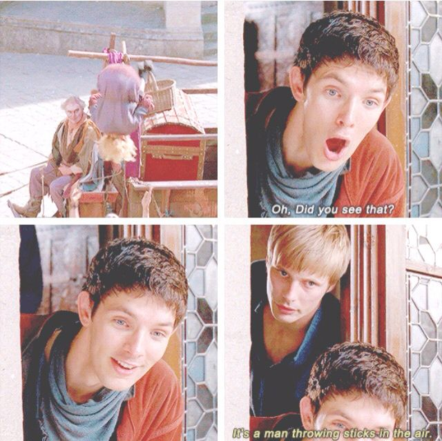 I love how merlin is like a kid in the candy shop while arthur is just the human equivalent of a teenage grumpy cat