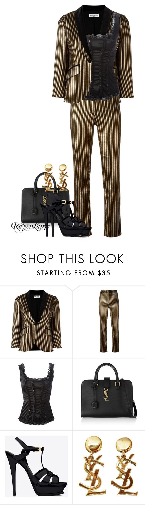 """""""Gold and Black Pantsuit"""" by ravenlancaster ❤ liked on Polyvore featuring Sonia Rykiel, Galline Regine and Yves Saint Laurent"""